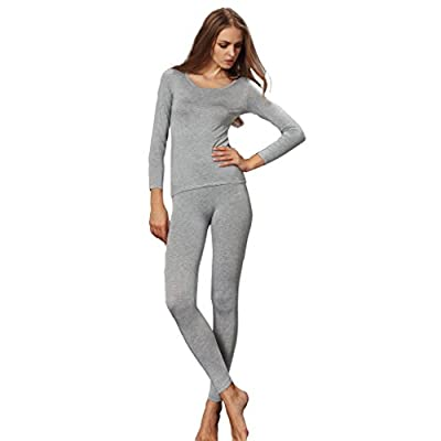 Liang Rou Women's Crewneck Stretch Top & Bottom Thin Thermal Underwear Set