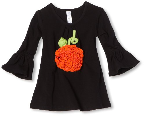 Love U Lots Baby Girls' Ruched Pumpkin Applique Gathered Neck Tunic Top