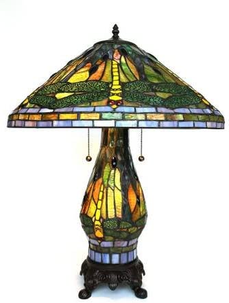 Amora Lighting Tiffany Style Floor Lamp Torchiere Torch Standing 72 Tall Stained Glass Red Yellow White Dragonfly Antique Vintage Light Decor Bedroom Living Room Reading Gift AM040FL14B, Multicolor