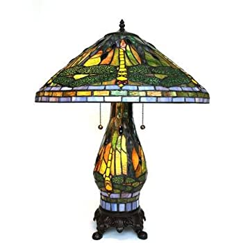 Captivating This Item Tiffany Style Yellow Dragonfly Table Lamp With Lighted Base