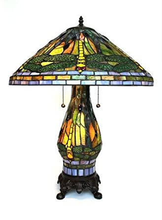 Marvelous Tiffany Style Yellow Dragonfly Table Lamp With Lighted Base