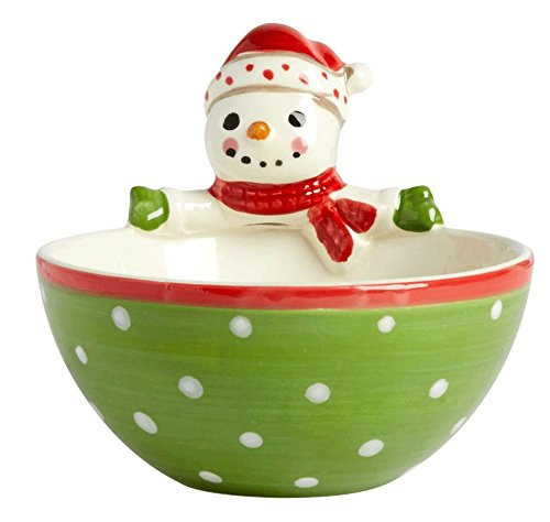Country Roads by Laurie Gates Green Snowman Ceramic Tidbit Bowl, 5-Inch