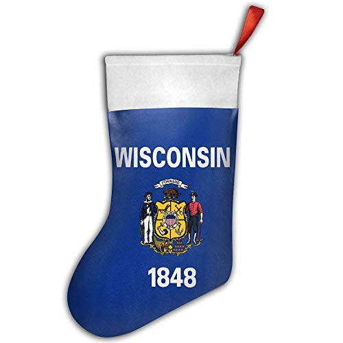 ONE SUIT Christmas Stocking Flag of Wisconsin Xmas Tree Decorations Santa Socks Snowman Ornaments Candy Bag