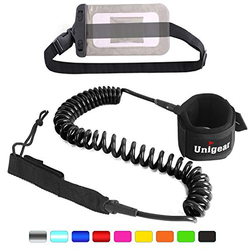 Unigear Premium SUP Leash 10' Coiled Stand Up Paddle Board Surfboard Leash Stay on Board with Waterproof Phone Case