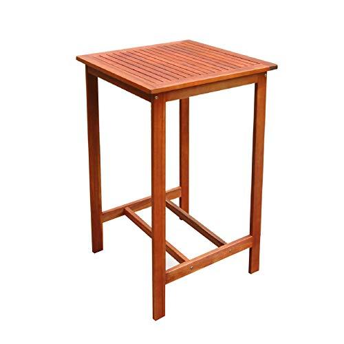 VIFAH V495T Dartmoor Outdoor Wood Bar Table, Natural (Outdoor Teak High Bar Table)