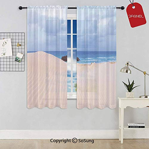 Boat Crash by Exotic Tropical Beach in African Shore Dream Atlantic Ocean Photo Rod Pocket Sheer Voile Window Curtain Panels for Kids Room,Kitchen,Living Room & Bedroom,2 Panels,Each 52x54 Inch,Blue ()
