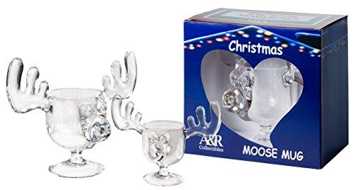 Christmas Moose Mug with Moose Shot Glass Gift Boxed Combo Pack - Safer Than Glass (Drinks Christmas Eggnog)