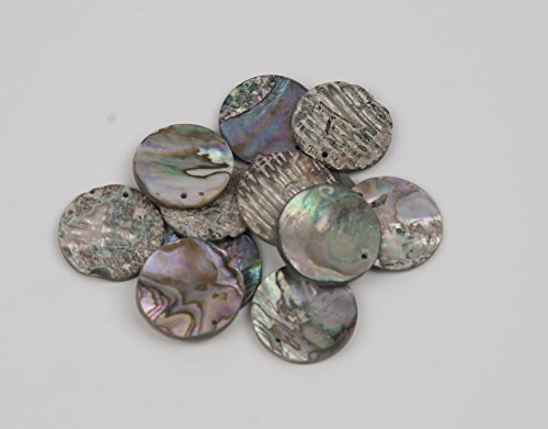 Abalone Shell Discs - 1 Inch 1 Hole, 12 pieces, used for sale  Delivered anywhere in USA