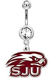 Saint Joseph's Hawks Belly Navel Ring in Color Logo, Stainless Steel and Sterling Silver