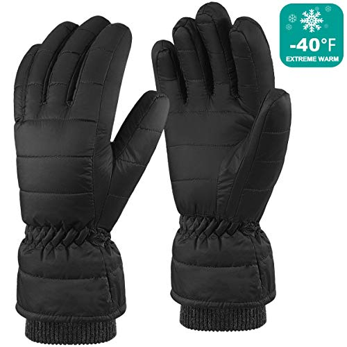 Andake Down Gloves for Men Water-resistance Warm Winter Snow Gloves for Walking Jogging Work Outdoor Activities (S/M, BLACK)
