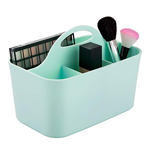 mDesign Plastic Makeup Storage Organizer Caddy Tote - Divided Basket Bin, Handle for Bathroom - Holds Eyeshadow Palettes, Nail Polish, Makeup Brushes, Blush, Shower Essentials - Small - Mint Green ()
