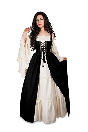 Renaissance Medieval Irish Costume Over Dress & Cream Chemise Set (2XL/3XL, Black) (2)