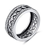 TEMEGO Eternity Ring,8mm Wide Pave CZ Stackable Wedding Bands for Women,Size 9