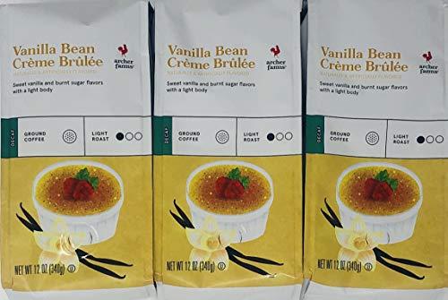 Archer Farms DECAF Vanilla Bean Creme Brulee Ground Coffee - (Pack of 3) - 12 oz Each - Light Roast Arabica (Buy Vanilla Beans)