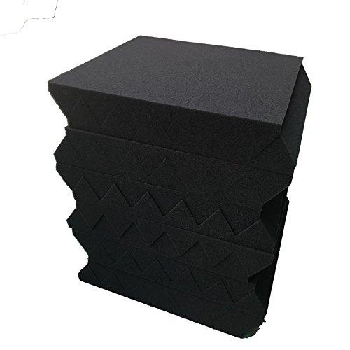 24 Pack 2'' x 12'' x 12'' BLACK Acoustic Wedge Studio Foam Sound Absorption Wall Panels (BLACK/PURPLE)