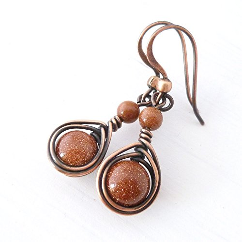 Copper Wire Wrapped Earrings with brown Goldstone glass beads