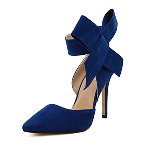 Z&L Women's Pointy Toe Suede High Heel Stiletto Pumps with Big Bowknot Blue US 7