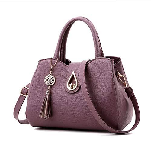 Femmes Sac Mode PU Sac Fourre-Tout Joker Épaule Messenger Bag 9 Couleurs (28 * 21 * 14 Cm) (Couleur : Violet foncé)
