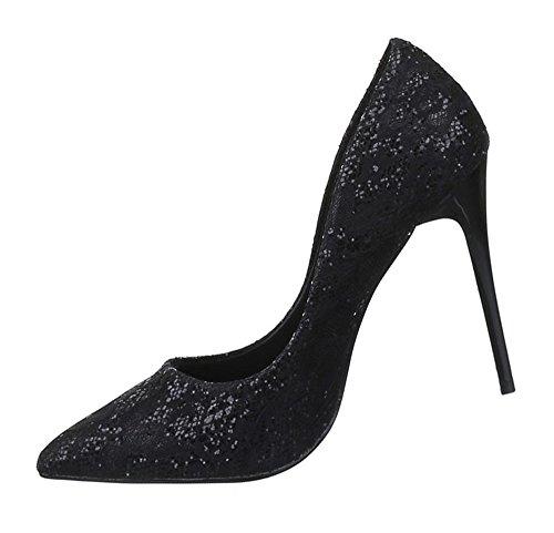 Damen Pumps Schuhe High Heels Stiletto Abendschuhe Business Club Glitter schwarz beige rosa 35 36 37 38 39 40 Schwarz