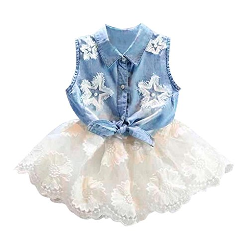 Price comparison product image Hatoys 2Pcs Denim Tops Set, Toddler Kids Baby Girls Vest T-Shirt +Tutu Tulle Skirt Outfit (24M, Blue)