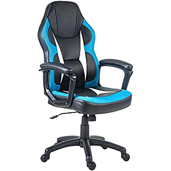 Merax Racing Gaming Style Task Chair for Home and Office PU Leather and Mesh (Blue)