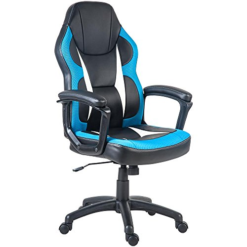 Merax Racing Gaming Style Task Chair for Home and Office PU Leather and Mesh (Blue) For Sale