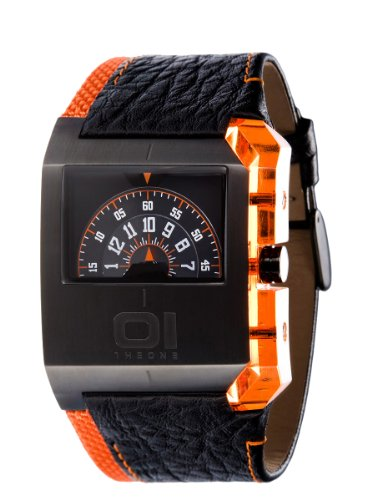 Pvd Case - 01 The One Gents Black PVD Case Turning Disk Watch with Orange Highlights