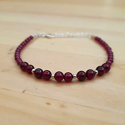 Pink Garnet Round Beads Bracelet Sterling Silver Findings Stacking Beaded January Birthday Jewelry