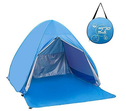 Meinstilin Portable Cabin Camping Tent Sun Shelter Automatic UV Protection Beach Shade for Outdoor Activities Pop Up Beach Tent Sun Shelter Cabana for 2-3 Person,Sky blue
