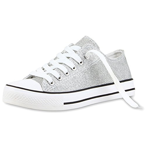 2d09c93fc80174 Japado Elegante Damen Sneakers Low Glitzer Canvas Schuhe Turnschuhe  Freizeit Gr. 36-41 Silber