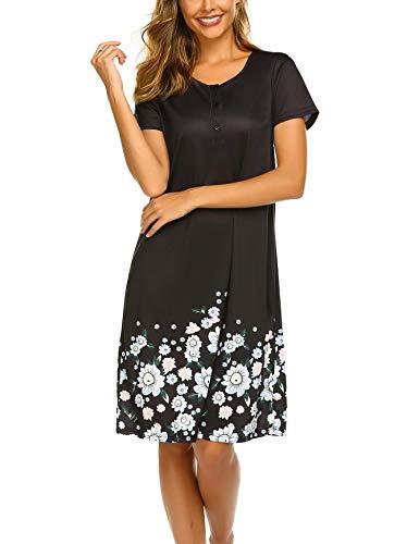 (Ekouaer Women's Nightgowns Sleep Dress Short Sleeve Print Nightshirt)