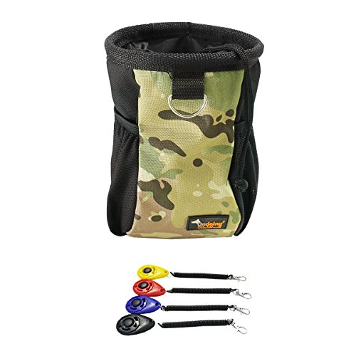 Ondoing Dog Training Clicker with Wrist Strap and Dog Treat Pouch with Adjustable Strap 1 Clicker + 1 Green Camo Pouch -
