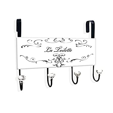 The Stupell Home Decor Collection La Toilette Over the Door Hanger, Black/White