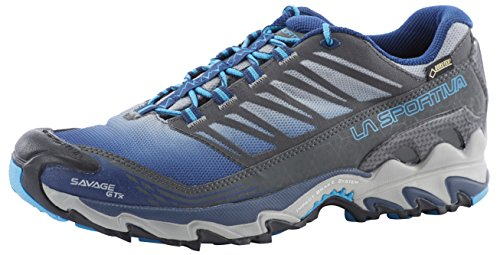 La Sportiva M Savage GTX - Blue / Grey - EU 40.5 / UK 7 / US 8 - Wasserdichter Gore-Tex Herren Trail-Running Schuh