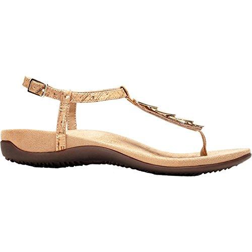 Vionic Womens Miami T-Strap Sandal Gold Cork Size 6.5