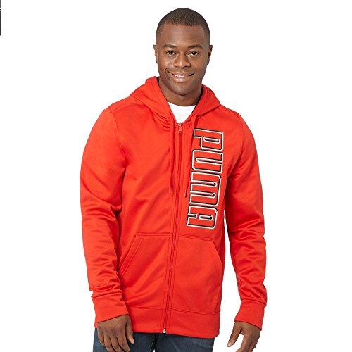 PUMA Men Full Zip Big Logo Fleece Hoodie Jacket (XXL, Red/black)