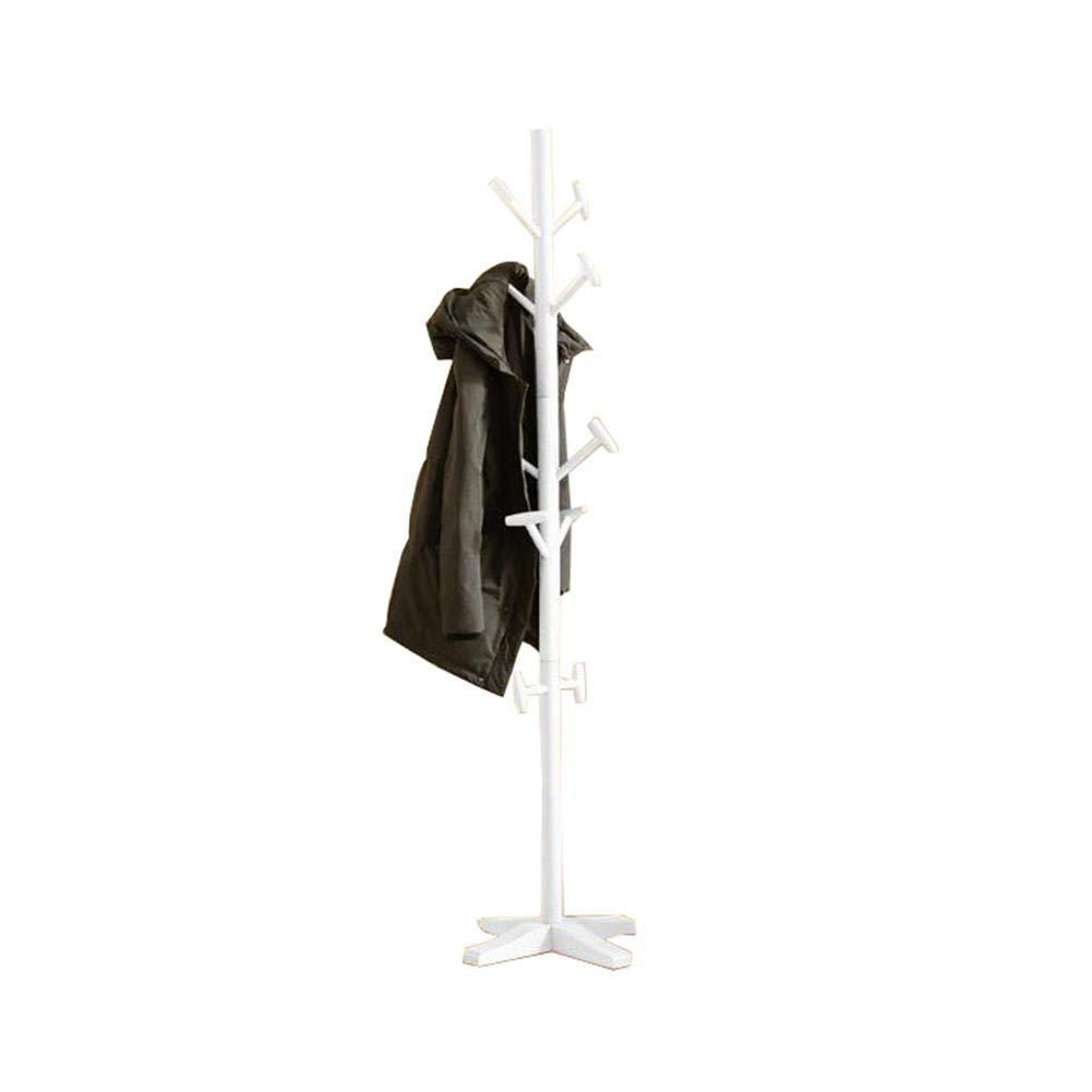 YIXINY コートラック 無垢材 着陸 寝室 単純 家庭 リビングルーム 垂直 洋服ラック (色 : 白) B07KWW54NP 白