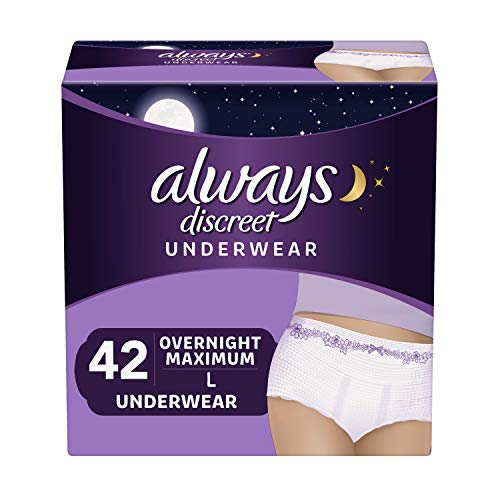 Always Discreet Incontinence & Postpartum Underwear for Women, Disposable, Overnight Maximum + Protection, Large, 14 Count - Pack of 3 (42 Count Total) ()