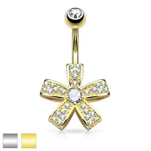 Micro Paved CZ Five Petal Flower with Round CZ Center 316L Surgical Steel - Centre Bel