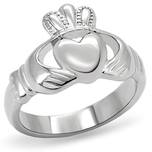 Women's Stainless Steel Claddagh Ring,Size:5