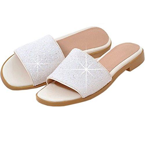 ENMAYER Frauen Glitter Slipper rutschfeste Sandalen mit Keilabsatz warmes Futter Weiß1