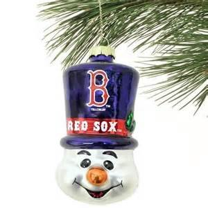 MLB Boston Red Sox Blown Glass Top Hat Snowman - Sox Red Snowman Boston