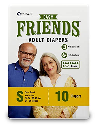 Friends Easy Adult Diapers Tape Style – 10 Count (Small) with odour lock and Anti-Bacterial Absorbent Core- Waist Size…