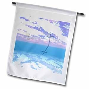 """3dRose fl _ 24370_ 2""""Cruz en las nubes con paloma"""" bandera de Jardín, 18x 27"""""""