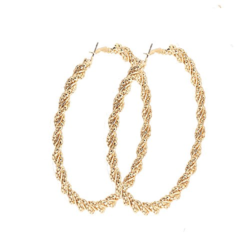 Earring Large Big Round Circle Earrings Twisted Hoop Earring Jewelry for Women 3.5 inch (Gold) ()