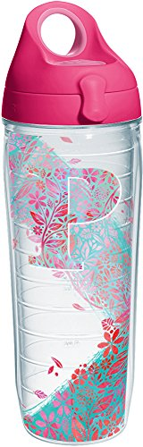 Tervis 1240148 Initial-P Botanical Insulated Tumbler with Wrap and Passion Pink Lid, 24oz Water Bottle, Clear ()