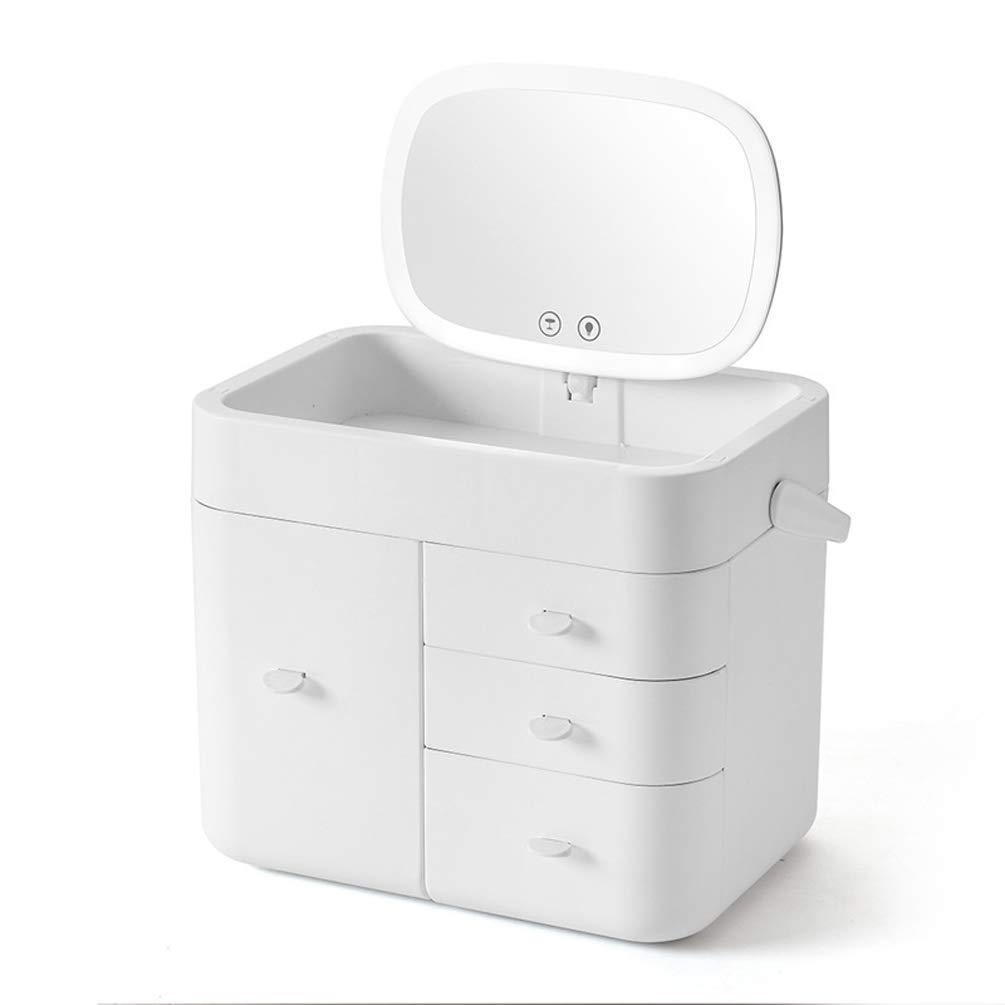 LQBZ Cosmetic Storage Box Makeup Organizer Multi-Layer Draweruff0cLed Mirror Cosmetic Storage Box Multi-Layer Household Storage Box Dressing Table Skin Care Products Rack-White-L