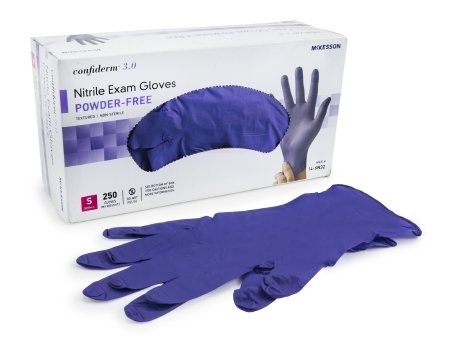 Exam Glove McKesson Confiderm® 6.5CX Extended Cuff NonSterile Powder Free Nitrile Ambidextrous Textured Fingertips Blue Chemo Tested Small