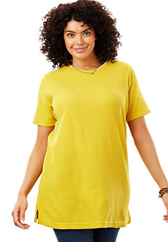 - Woman Within Women's Plus Size Satin-Trimmed Crewneck Thermal Tee - Golden Mustard, M