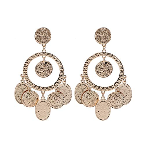 (Hukai Tribal Rare Coins Big Hoop Banjara Kuchi Belly Dance Boho Gypsy Dangle Earrings)